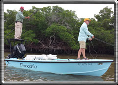 Pinocchio is a one-of-a-kind flats skiff that will go extremely shallow.